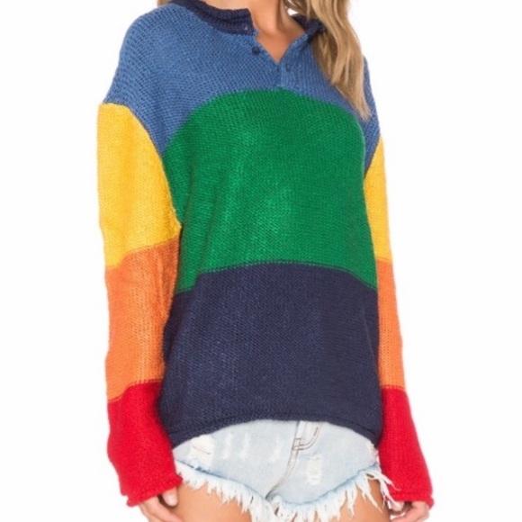 UNIF XS color block rainbow boxy Sweater